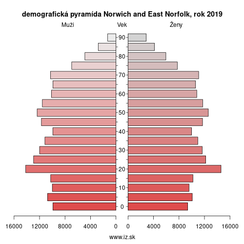 demograficky strom UKH15 Norwich and East Norfolk demografická pyramída