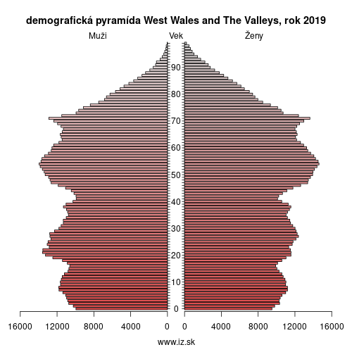 demograficky strom UKL1 West Wales and The Valleys demografická pyramída
