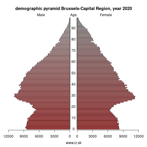demographic pyramid BE1 Brussels-Capital Region