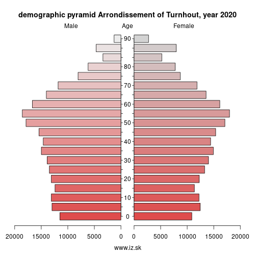 demographic pyramid BE213 Arrondissement of Turnhout