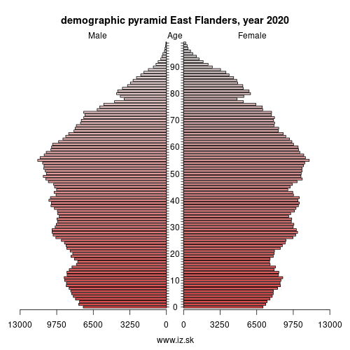 demographic pyramid BE23 East Flanders