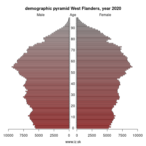 demographic pyramid BE25 West Flanders