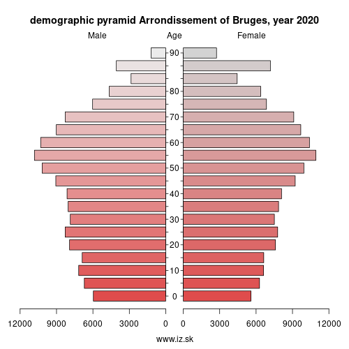 demographic pyramid BE251 Arrondissement of Bruges