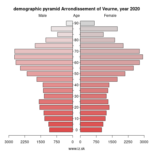 demographic pyramid BE258 Arrondissement of Veurne
