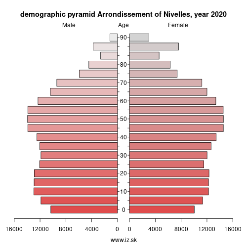 demographic pyramid BE310 Arrondissement of Nivelles