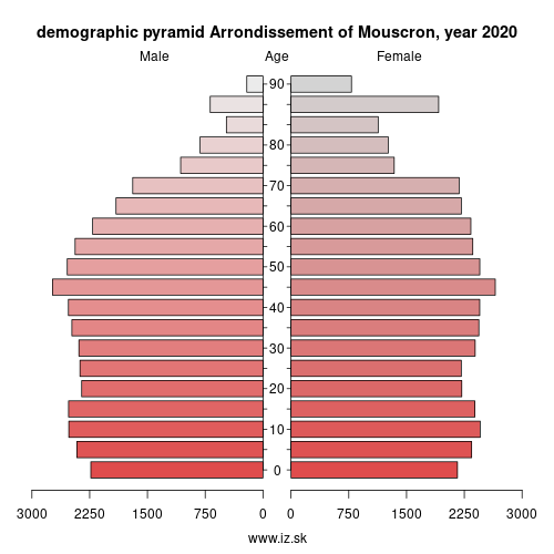 demographic pyramid BE324 Arrondissement of Mouscron
