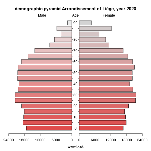demographic pyramid BE332 Arrondissement of Liège