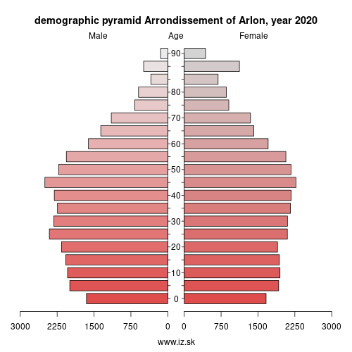 demographic pyramid BE341 Arrondissement of Arlon