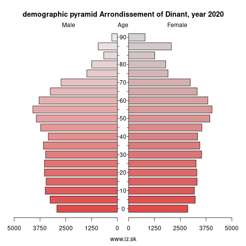 demographic pyramid BE351 Arrondissement of Dinant