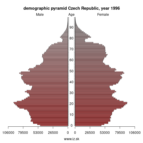 demographic pyramid CZ 1996 Czech Republic