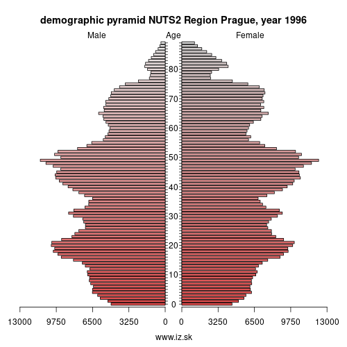 demographic pyramid CZ01 1996 Prague