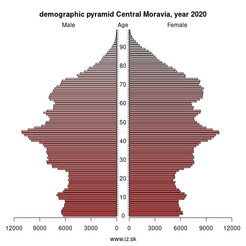 demographic pyramid CZ07 Central Moravia