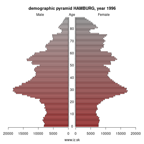 demographic pyramid DE6 1996 HAMBURG