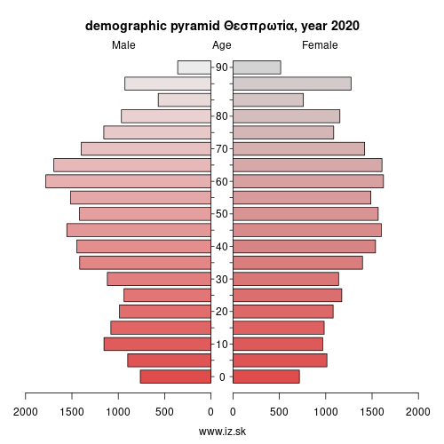 demographic pyramid EL542 Θεσπρωτία