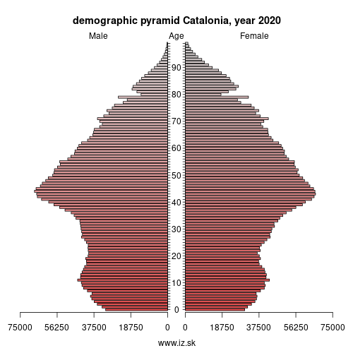 demographic pyramid ES51 Catalonia