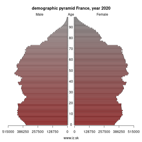 demographic pyramid France,