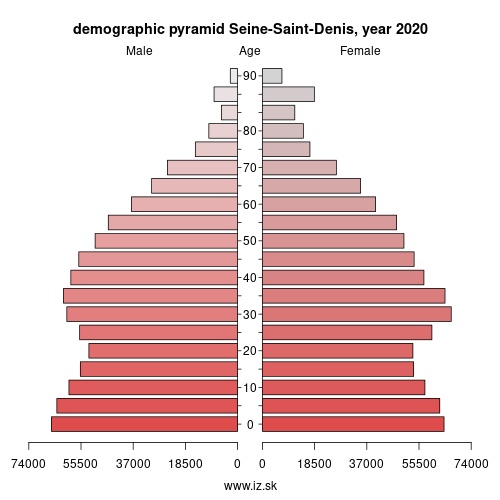 demographic pyramid FR106 Seine-Saint-Denis