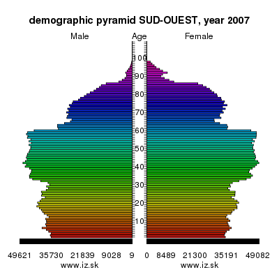 demographic pyramid SUD-OUEST,