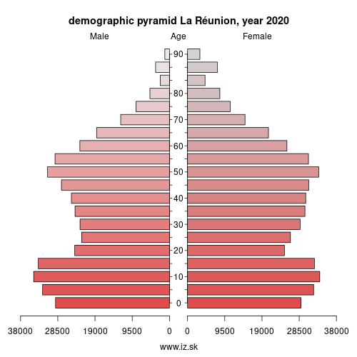 demographic pyramid FRY40 La Réunion