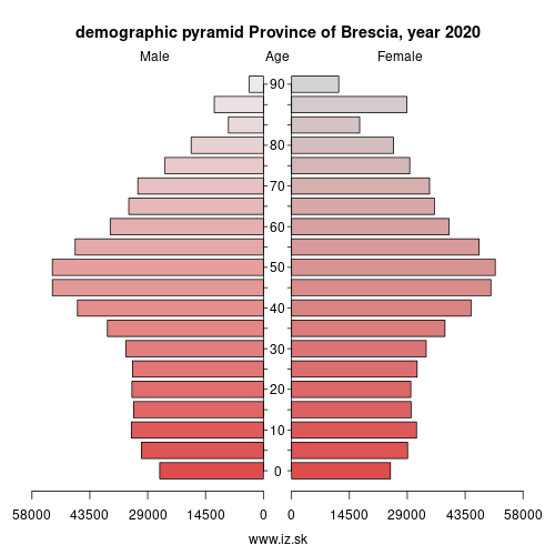 demographic pyramid ITC47 Province of Brescia