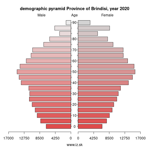 demographic pyramid ITF44 Province of Brindisi