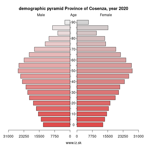 demographic pyramid ITF61 Province of Cosenza