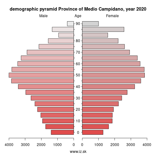 demographic pyramid ITG2B Province of Medio Campidano