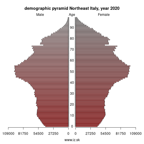 demographic pyramid ITH Northeast Italy
