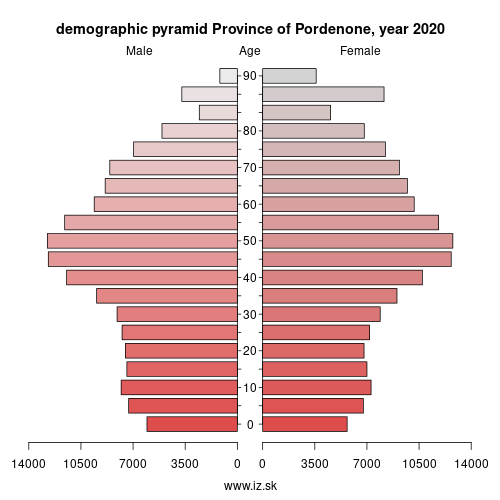 demographic pyramid ITH41 Province of Pordenone