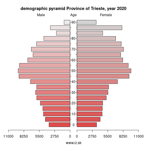 demographic pyramid ITH44 Province of Trieste