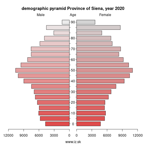 demographic pyramid ITI19 Province of Siena