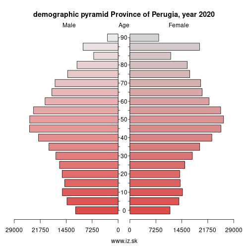 demographic pyramid ITI21 Province of Perugia