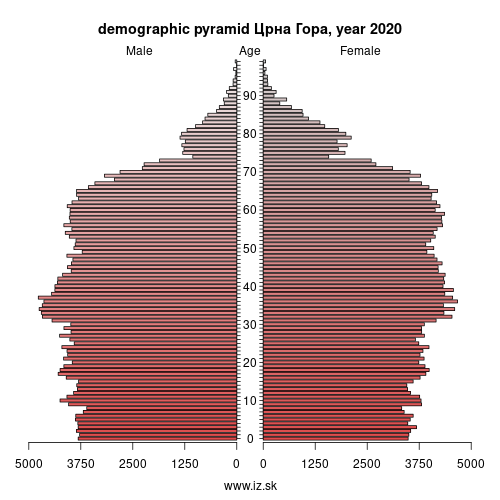 demographic pyramid ME00 Црна Гора