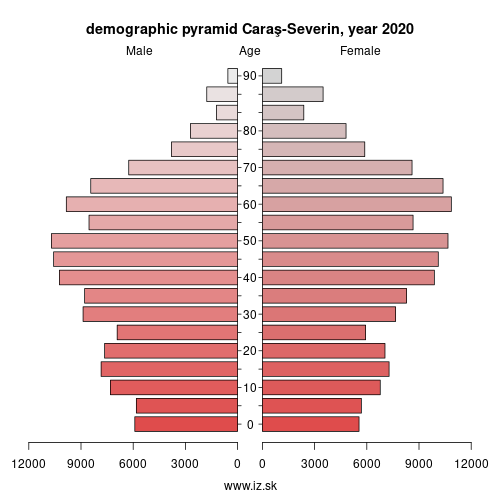 demographic pyramid RO422 Caraş-Severin