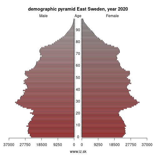 demographic pyramid East Sweden,