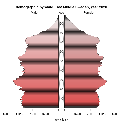 demographic pyramid SE12 Östra Mellansverige