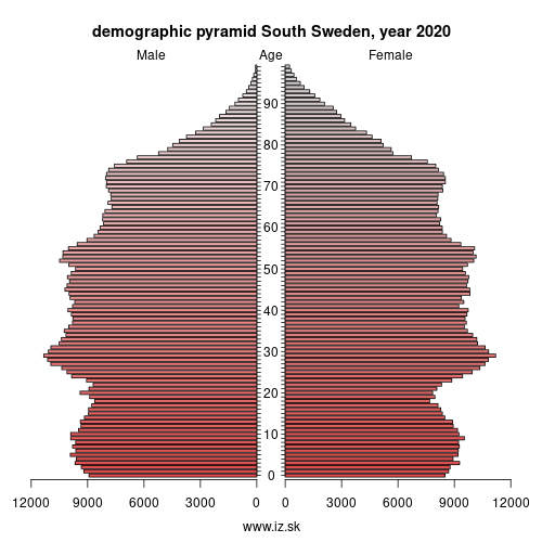 demographic pyramid SE22 Sydsverige