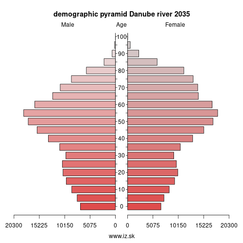 demographic pyramid Danube river 2035