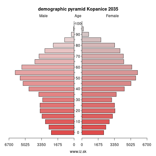 demographic pyramid Kopanice 2035
