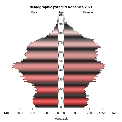 demographic pyramid Kopanice 2020