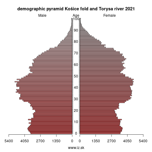 demographic pyramid Košice fold and Torysa river 2020