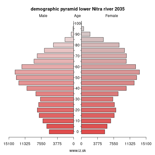 demographic pyramid lower Nitra river 2035