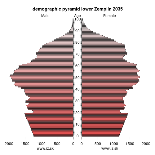 demographic pyramid lower Zemplín 2025