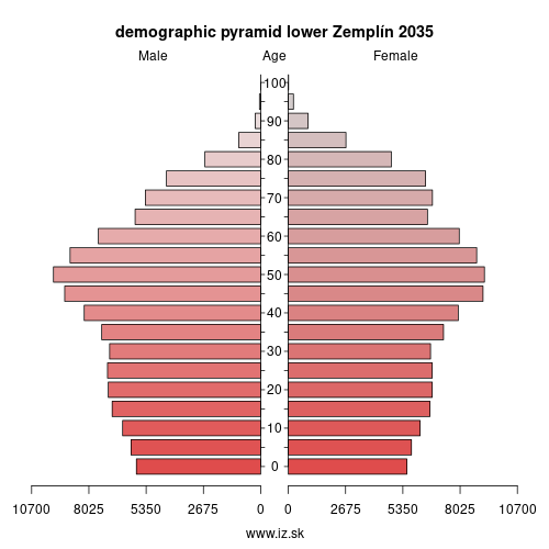 demographic pyramid lower Zemplín 2035