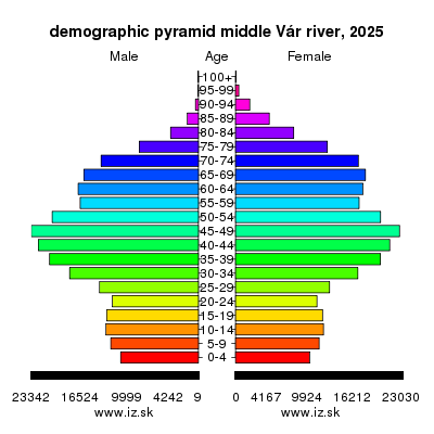 demographic pyramid middle Vár river 2025