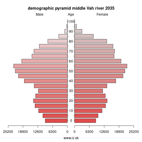 demographic pyramid middle Vár river 2035