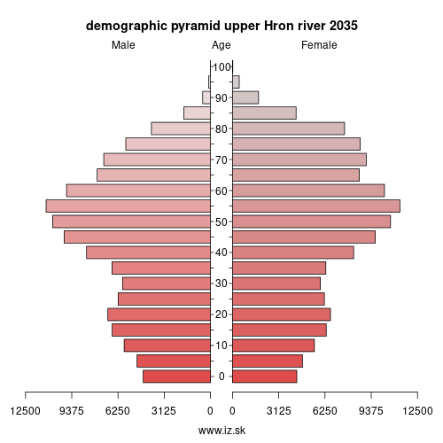demographic pyramid upper Hron river 2035