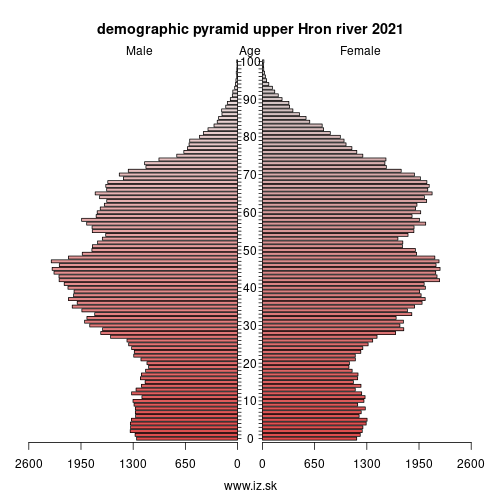 demographic pyramid upper Hron river 2018