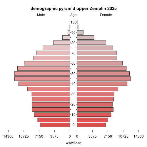 demographic pyramid upper Zemplín 2035