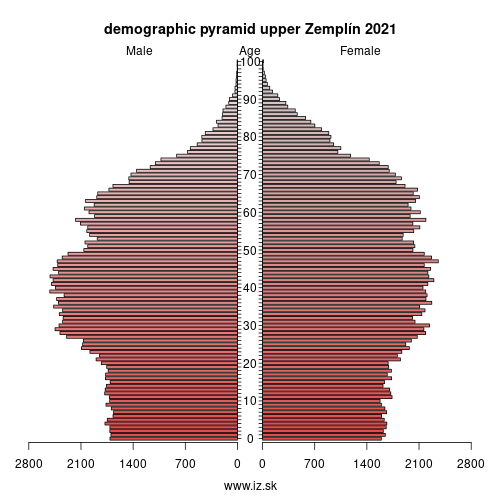 demographic pyramid upper Zemplín 2019